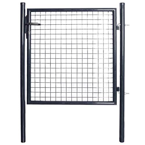 vidaXL Cancello da Giardino Acciaio Zincato 85,5x100cm Grigio Porta Recinzione