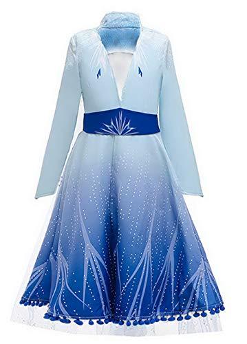 ELSA Kleid-Kostüm Mädchen Glanz Kleid Eiskönigin ELSA 2 Langarm Karneval Halloween Cosplay Fasching