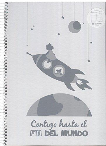 Jardín de Noa 1029A - Cuaderno espiral cuadros y pegatinas'Contigo hasta el fin del mundo', A4