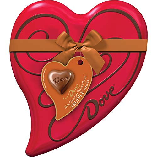 DOVE Valentine's Peanut Butter Milk Chocolate Candy Truffles Heart Gift Box 6.5-Ounce Tin 18 Pieces