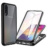 CENHUFO Funda Samsung Galaxy A70/A70S Antigolpes con Protector de Pantalla Incorporada Anti-rayones,[Anti-Amarilleo]360 Grados Protección Bumper Transparente Carcasa para Samsung Galaxy A70/A70S-Negro