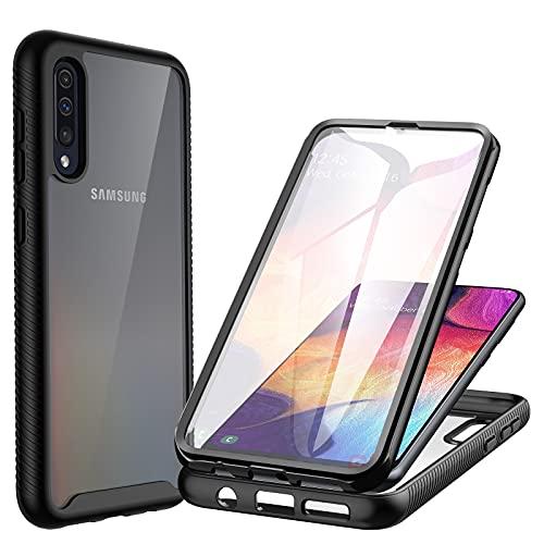 CENHUFO Funda Samsung Galaxy A50/A50S/A30S Antigolpes con Protector de Pantalla Incorporada Anti-Amarilleo Anti-Amarilleo 360 Grados Bumper Transparente Carcasa para Samsung Galaxy A50/A50S/A30S-Negro