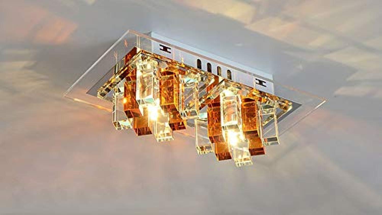 Zhang Yan ZYY  Deckenleuchte LED Warm Licht, Modern Einfach Rechteckiger Design Leuchte Metall Kristall Acryl Lampe L27cm B15cm 10W (Braun-Transparent, Oberflchenmontage)