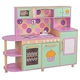 FROGGY Kinderküche Holz Spielküche groß für Mädchen | Designed in Germany | Mikrowelle Kühlschrank Spülmaschine Kochfeld Herd | Küche Rosa Pink ab 3 Jahre | EN71 geprüft & zertifiziert