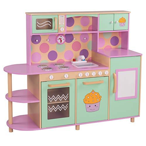 FROGGY Kinderküche aus Holz in rosa und grün | Mit vielen Spielemöglichkeiten | Mikrowelle, Kühlschrank, Spüle und Herd | Holzküche Spielküche | Platzsparend, auch für kleine Wohnungen geeignet
