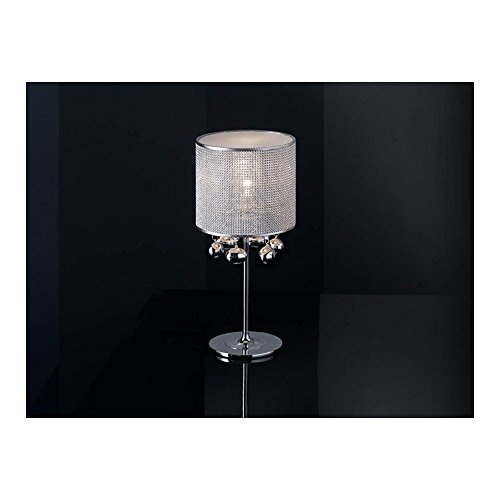 Schuller Spain 174414I4L Modern, Art Deco Chrome Drum Shade Table Lamp 1 Light Living Room, bed room, Study, Bedroom LED, Chrome Mesh Shade Table Lamp | ideas4lighting