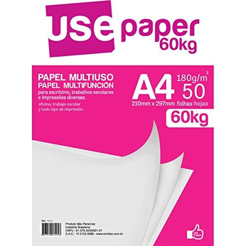 Papel Multiuso 180gr, Romitec, Use Paper 60kg, 7205R, Tamanho A4, Branco, 50 Folhas