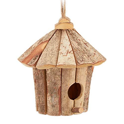 Relaxdays Deko Vogelhaus, zum Aufhängen, unbehandeltes Holz, rustikal, Balkon, Garten, Mini Häuschen 22x22x22 cm, natur