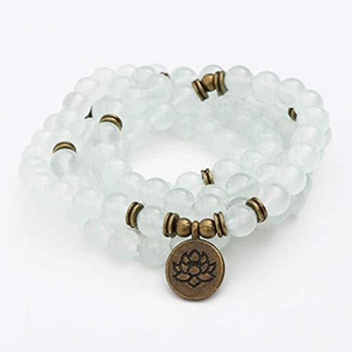 ZKZKK Pulsera de la Riqueza Feng Shui Americana Nueva Pulsera de Jade Natural - 108 Pulsera de Perlas de oración - Loto/Buda/Árbol de la Vida/Loto Hueco/Colgante de Ojos Puede traer s