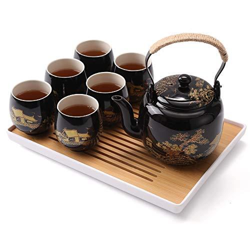 DUJUST Japanisches Teeservice, Schwarzes Porzellan Teeservice mit 1 Teekanne, 6 Teetassen, 1 Teetablett, 1 Edelstahl-Ei, Schönes asiatisches Teeservice für Teeliebhaber (Landschaft in Gold)