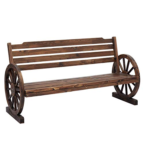 Kinsunny Wooden Wagon Wheel Bench Yard Decorative 2-Person Fir Wood Seat Bench with Backrest Rustic Style for Bench Patio Garden