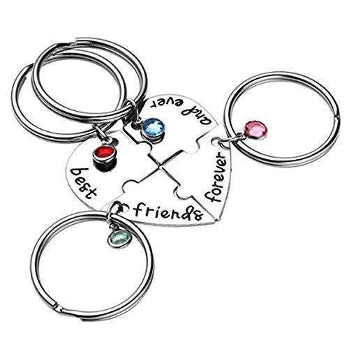 VALICLUD Llaveros de La Novedad Llavero BFF para 4 Mejores Amigos para Siempre Y para Siempre Llaveros a Juego para Amigos
