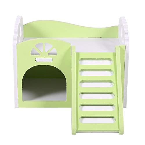 Castillo para animal doméstico, juguete, cuna para dormir, juguetes para ejercicio para hámsters, chinchillas, conejillos de Indias, de 2 plantas con 1 escalera (multicolor)