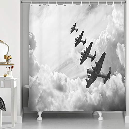 NYMB Vintage Airplane Decor Duschvorhang für Badezimmer, Retro Bild von Lancaster Bomber Jets Air Force in Wolken Flugzeug Stoff Badevorhänge, 177.9 x 177.8 cm, Grau