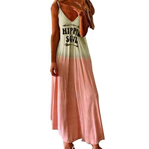 NANTE Vestido Suelto para Mujer, Estilo Hippie, con Estampado Gradual, sin Mangas, Falda Larga, Vestido Maxi para Mujer, Rosado, XXXXX-Large