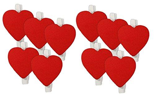 SupplyEU 50 Stück Rot Herz Holzklammer Tischkarten Wäscheklammer Memoklammer Memo Clips Gastgeschenk Weihnachten Deko