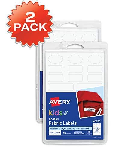 Avery 40700 Etiquetas para ropa de niños, no necesita planchado, aptas para lavadora y secadora, varias formas y tamaños, paquete de 2, 90 etiquetas