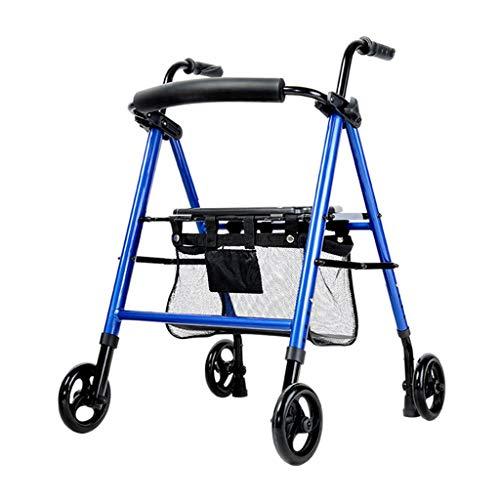 Andadores estándares y ligeros Andador para Ancianos Conveniente Plegable Ancianos Walker Carretilla Aleación De Aluminio Multifunción De Cuatro Ruedas Walker Ayuda For Caminar Andadores estándares y