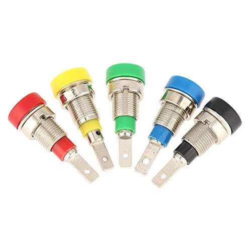 Juego de surtido de postes de encuadernación de conectores tipo banana, respectivamente, 5 piezas, conector tipo banana de colores mezclados, conector de 2,0 mm para sondas de prueba de montaje en pan