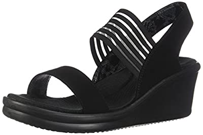 Skechers Cali Women's Rumblers-Sci-Fi Wedge Sandal,Black,8 M US