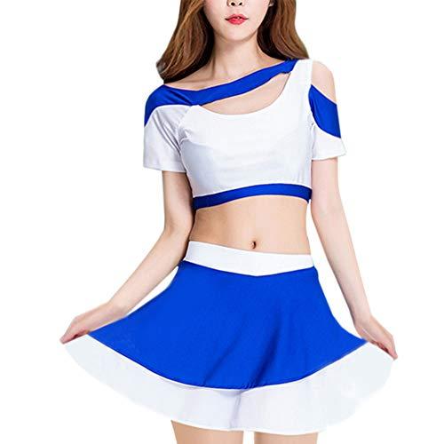 Gtagain Modern Tanzkleidung Damen - Mädchen Blau Sport Cheerleader Kostüm Tops Rock Anzug Jazz High School Ballsaal Performance Dancewear