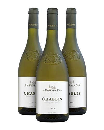 J. Moreau & Fils A.O.C. Chablis Vino Blanco - Borgoña, Francia - Pack de 3 Bot. 75 cl