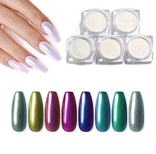 Saint-Acior 8pc Poudre Paillettes Miroir Chrome Ongles Pearl Effet Nail Art Pigment Poussière 8pcs Bâtonnet éponge