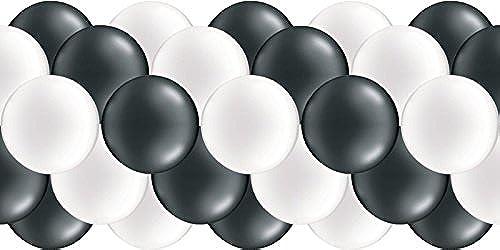 Luftballongirlande  Schwarz& Weiß(Metallic   Glänzend)  100 Meter - partydiscount24