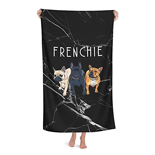 Frenchie Love Beach Towel for Adults Kids, Oversized Bath Towels for Swimming Pool Travel