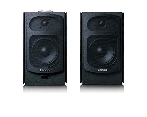 Lenco SPB-260 - Stereo Bluetooth Lautsprecher - 2 x 60 Watt RMS - Bluetooth 4.2 - Aktivlautsprecher - Class-D-Verstärker - 2 x AUX Out - optischer Eingang - Fernbedienung - schwarz
