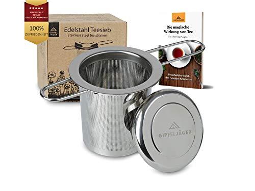 Gipfeljäger® Original Edelstahl Teesieb für Tasse, Kanne, Becher mit Deckel/Abtropfschale, Bügel faltbar, Teefilter für losen Tee, größer als Tee Ei, für große und kleine Tassen, fein, Thermoskanne
