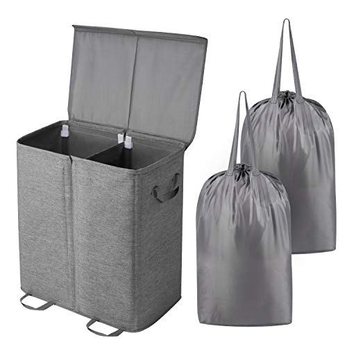 Lifewit Double Laundry Hamper with Lid and Removable Laundry Bags Large Collapsible 2 Dividers Dirty Clothes Basket with Handles for Bedroom Laundry Room Closet Bathroom College Grey