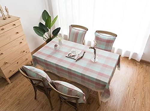 Mantel de Encaje a Cuadros de algodón de imitación de Lino Princesa Rosa Mantel de Cocina Juego de Mesa de Centro Mantel 140x240cm Rosa