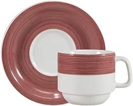 Estojo com 6 xícaras de chá com pires. Modelo redondo cilíndrica. Decoração pintura a mão vermelho. Fabricado pela porcelana schmidt.