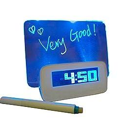 Monique Creative Digital Alarm Clock Blue LED Backlight Message Board Clock