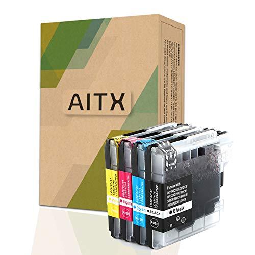 AITX LC1100 LC985 Cartuchos de Tinta Compatible para Brother DCP-J125 145C 165C MFC-6490CW MFC-5890CN MFC-J410 ,LC1100VALBP LC980 / LC1100 BK, LC980 / LC1100 C, LC980 / LC1100 M, LC980 / LC1100 Y
