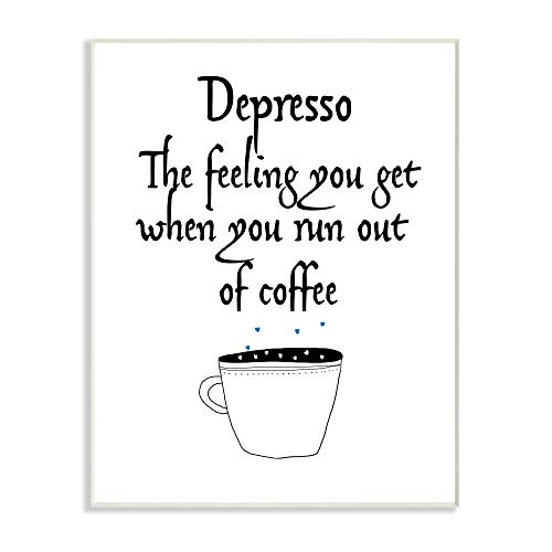Stupell Industries Black and White Depresso Funny Coffee Saying Typography Wall Plaque, 13 x 19, Multi-Color