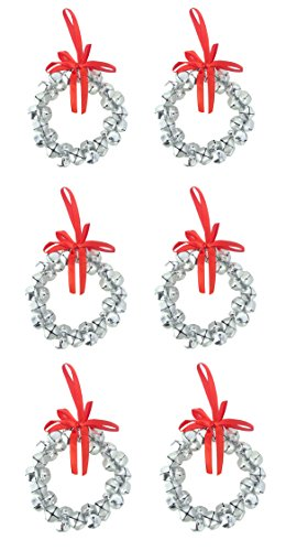 Confezione da 8–8cm argento campane mini corona decorazioni per albero di Natale