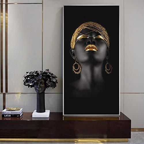 ZWBBO Decoratief schilderij vrouwen olieverfschilderij druk op canvas kunstdruk zwart meisje met gouden oorbellen canvasafbeeldingen huis wanddecoratie