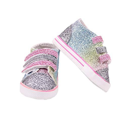 Uteruik muñeca deportes lentejuelas zapatos para 46 cm/18 in American Girl Doll Casual Outfits traje accesorio, 1 par