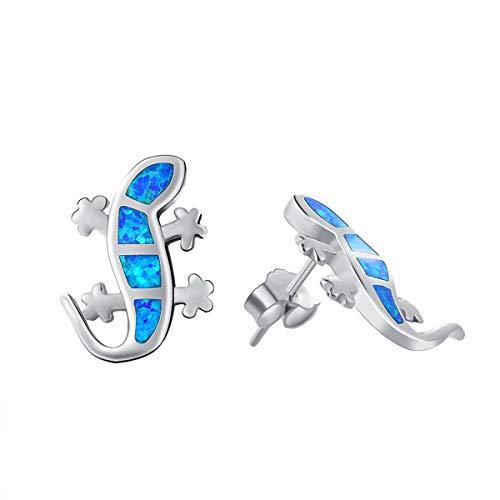 Carleen OHRRINGE Für Damen Gecko OHRSTECKER für Mädchen Eidechsen 925 Silber Opal Blau Geschenk für Freundin Tochter Hausgecko