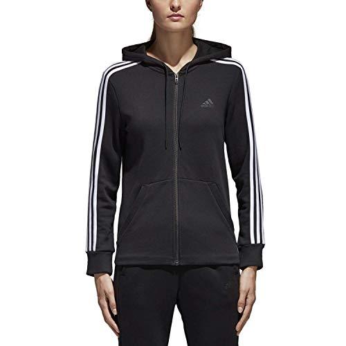 adidas pour Femme Essentials Polaire de Coton 3S Sweat à Capuche zippé pour, Femme, Noir/Blanc