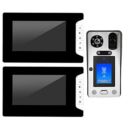 Leftwei Timbre, interfono de Control, 2 monitores Casas con RFID de 7 Pulgadas para Apartamentos Captura de Retratos a(European regulations)