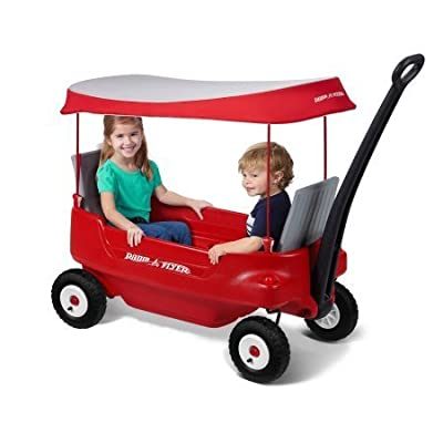 Radio Flyer Deluxe All-Terrain Pathfinder Wagon with Canopy All-terrain air tires for a smooth ride from