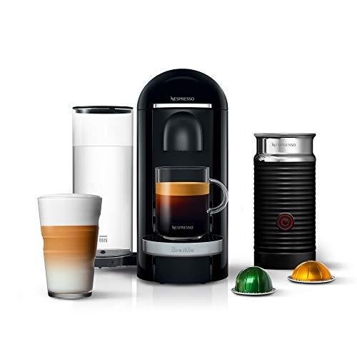 Nespresso VertuoPlus Deluxe Coffee and Espresso Machine Bundle with Aeroccino Milk Frother by Breville, Black