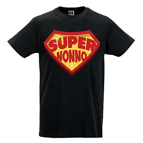 Babloo T Shirt Uomo Idea Regalo Festa dei Nonni Super Nonno Nera XL
