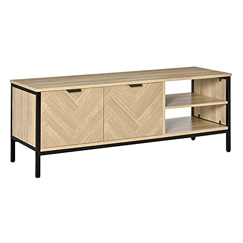 HOMCOM Mueble de TV para Televisores de hasta 32' Mesa de Salón Moderna con Armario 2 Compartimentos Estante Ajustable y Patas de Metal 120x40x46 cm Color Madera Natural