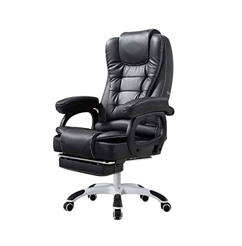 ZOUSHUAIDEDIAN Silla de oficina, silla de computadora, silla de oficina Ejecutiva ergonómica, silla de escritorio de cuero de PU, silla giratoria, mecedora giratoria con reposabrazos acolchado con fli