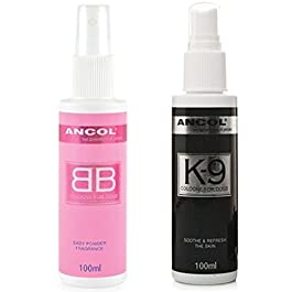 Ancol Baby Powder BB Cologne and Ted Barker K9 Dog Perfume Scent Set