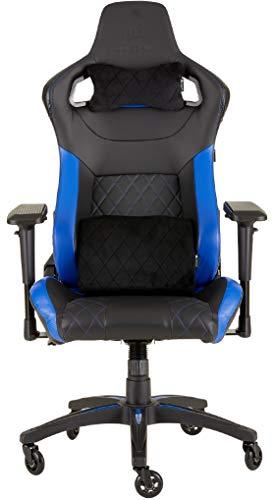 Corsair T1 Race Silla de Oficina, para Videojuegos, Polipiel, fácil de ensamblar, giratoria ergonómica, Altura Ajustable y reposabrazos 4D, Asiento cómodo y reclinable, Negro y Azul